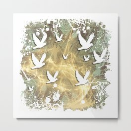 Birds on beige messy kaleidoscope Metal Print