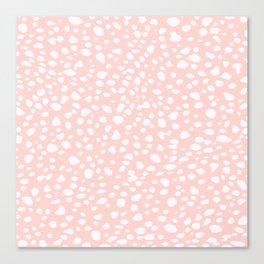 Pink Coral Polka Dots Canvas Print