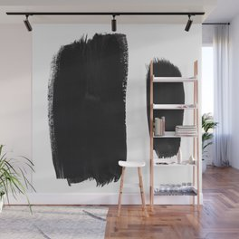Black And White Minimalist Mid Century Abstract Ink Art Minimal Brush Strokes Black Color Block Wall Mural