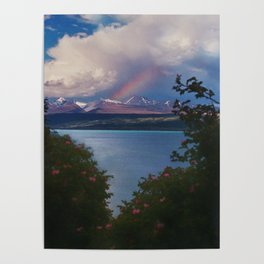 Rainbow Over The Mountains Of New Zealand Poster
