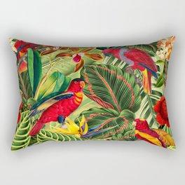 Vintage & Shabby Chic - Midnight Tropical Flower Garden III Rectangular Pillow
