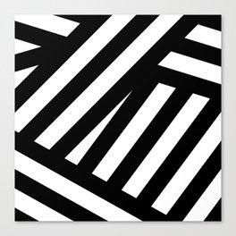 Black white illustration lines modern print Canvas Print