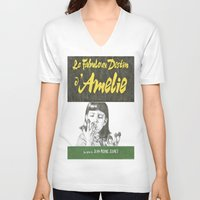 amelie V-neck T-shirts featuring AMELIE hand drawn movie poster in pencil by The Exiled Elite