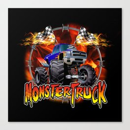 Monster Truck blue on Fire                                          Canvas Print