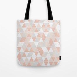 Peach & Gray Geometric Art Tote Bag