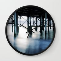 boardwalk empire Wall Clocks featuring boardwalk by neutral density