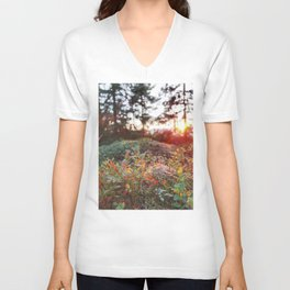 Evening glow in the forest Unisex V-Neck