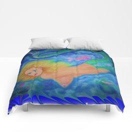 Nude blond mermaid swimming  Comforters