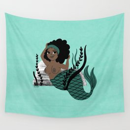 Black and Beautiful Mermaid Wall Tapestry
