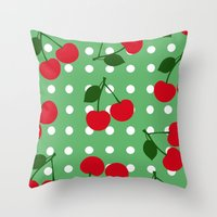 cherry Throw Pillows featuring cherry by vitamin