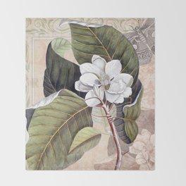 Vintage White Magnolia Throw Blanket