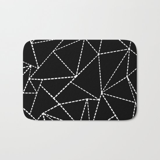 Abstract Dotted Lines White on Black Bath Mat