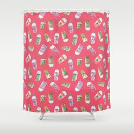 Coffee Crazy Toss in Coral Shower Curtain