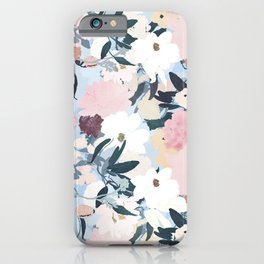 Pretty Grayish Blue Watercolor Pink & White Floral Design iPhone Case