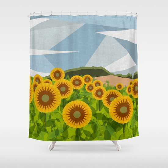 SUNFLOWERS (geometric flowers abstract) Shower Curtain by Absentis ...