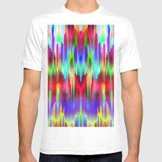 Colorful digital art splashing G487 White MEDIUM Mens Fitted Tee