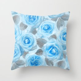 Painted Roses in Blue & Grey Throw Pillow