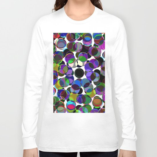 Cluttered Circles III - Abstract, Geometric, Pastel Coloured, Circle Patterned Artwork Long Sleeve T-shirt
