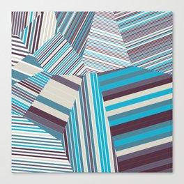 Skycraper Blues - Voronoi Stripes Canvas Print