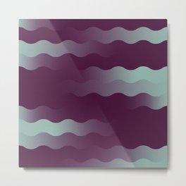 Mint Plum Gradient Wave Metal Print