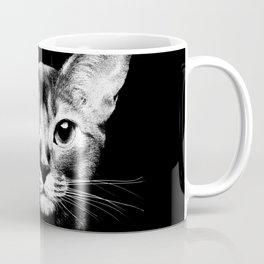 Abyssinian cat portrait black and white Coffee Mug