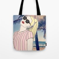 iggy azalea Tote Bags featuring Paradise Iggy by Kacey Ong