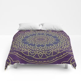 Mandala - purple and gold Comforters