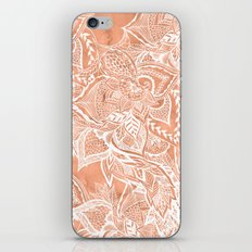 Modern tan copper terracotta watercolor floral white boho hand drawn pattern iPhone & iPod Skin