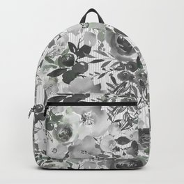 Black gray white hand painted floral stripes pattern Backpack