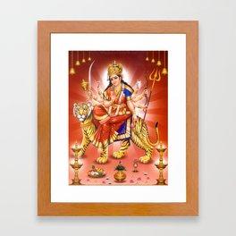 Goddess Durga Indian Art Yoga Lion Framed Art Print