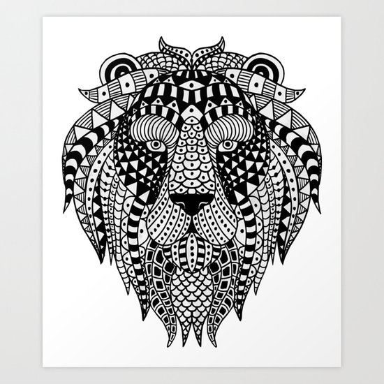 ethnic lion Art Print