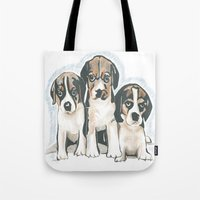puppies Tote Bags featuring Puppies 1 by JennFolds5 * Jennifer Delamar-Goss