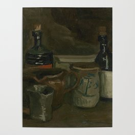 Still Life with Bottles and Earthenware Poster