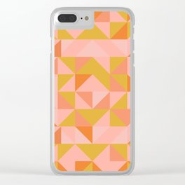 Deconstructed Triangle Pattern in Coral and Peach Clear iPhone Case