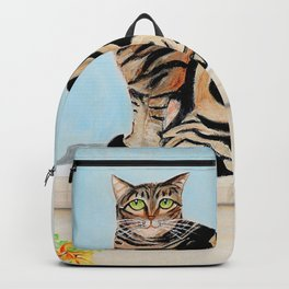 Cat sitting on window sill Backpack