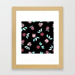 Clover Flowers on Black Framed Art Print