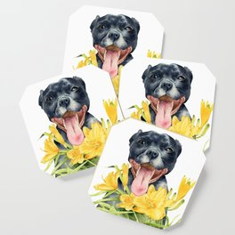 Joy | Pit Bull Dog and Daylily Watercolor Painting Coaster