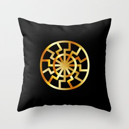 Black Sun symbol in gold- Schwarze Sonne- Occult subculture symbol Throw Pillow