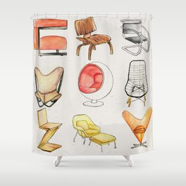 Post Modern Watercolor Chairs Shower Curtain