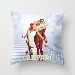 Vintage Campari Italian Bitters Angel and Devil - Stairway to Heaven Advertisement Poster Throw Pillow
