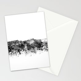 Porto skyline in black watercolor on white background Stationery Cards