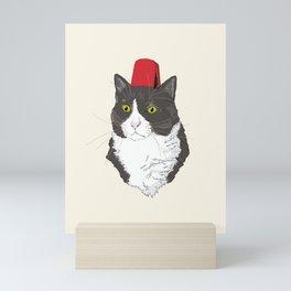 Fez Hat Cat Mini Art Print
