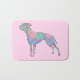 American Bulldog Vintage Floral Pattern Pastel Pink Turquoise Mint Bath Mat