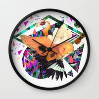 kris tate Wall Clocks featuring PAPAYA by Carboardcities and Kris tate by cardboardcities