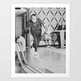 President Richard Nixon Bowling At The White House Art Print