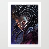 starcraft Art Prints featuring Queen of Blades by Denda Reloaded