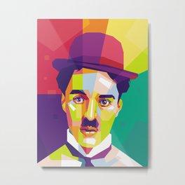 Charlie Chaplin Pop Art WPAP Metal Print