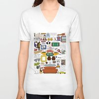 indonesia V-neck T-shirts featuring Collage by Loverly Prints
