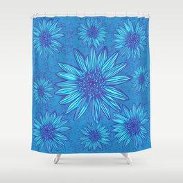 "Heart Daisy Flower Blue Rustic Wood Planks Waterproof Fabric Shower Curtain 72/"""