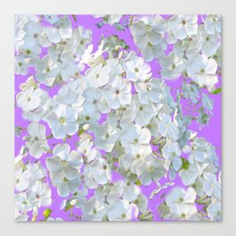 DELICATE LILAC & WHITE LACE FLORAL GARDEN PATTERNS Canvas Print